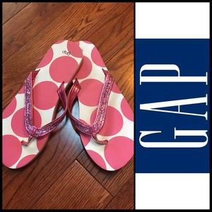 GUC Gap Women's Pink/White Polka Dot Flip Flops